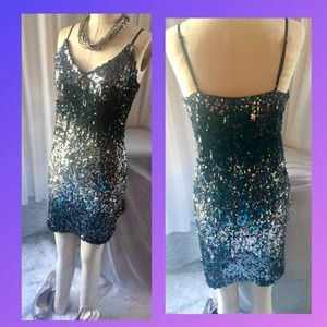 Express Sequin Cami Dress in a Black/Silver Ombre